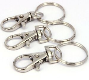 Set of 3 x Key Chain Ring Silver Metal Swivel Lobster Clasp Clips Detachable