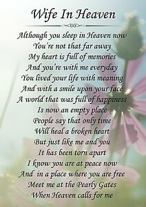 Details about Wife In Heaven Memorial Graveside Poem Card & Free Ground  Stake F147