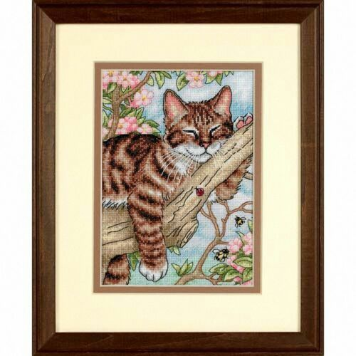 D65090 Counted Gold Cross Stitch Kit Napping Kitten Dimensions