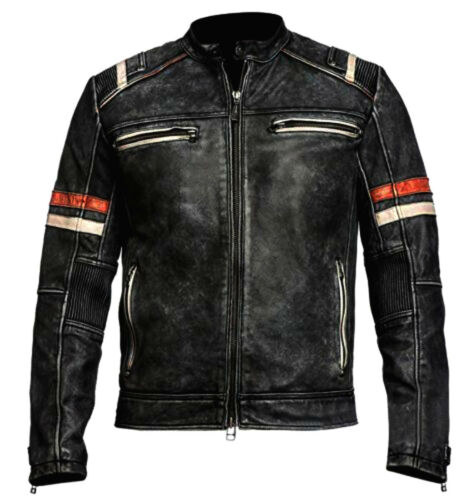 MEN/'s Vintage Moto Cafe Racer Biker Retrò MOTO EFFETTO INVECCHIATO LEATHER JACKET