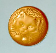 RARE Authentic LALIQUE Cat Chat Satin Coral Crystal Pin Brooch New Original Box