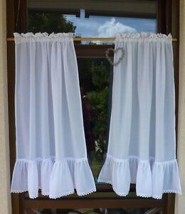 gardinen 2 schals mit r sche shabby batist je 80 x 100 cm ma e auch nach wunsch ebay. Black Bedroom Furniture Sets. Home Design Ideas