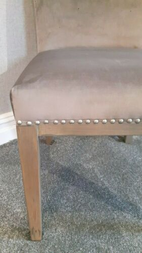 NEW grey velvet style dining chair with beautiful stud detailing