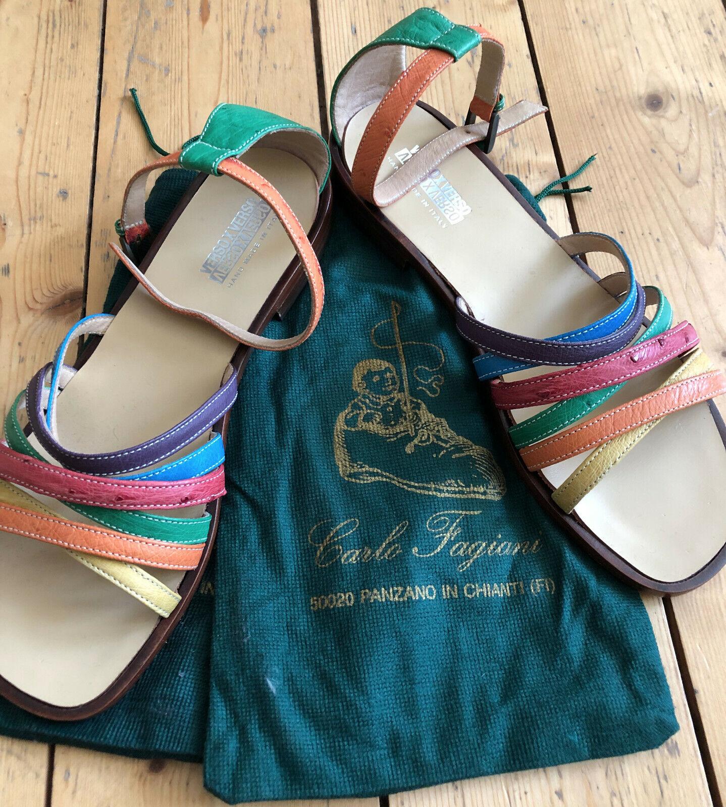 Versoxverso SANDALI scarpe Cinturino Handmade Pelle Italia Coloreeato Taglia 39 NUOVO