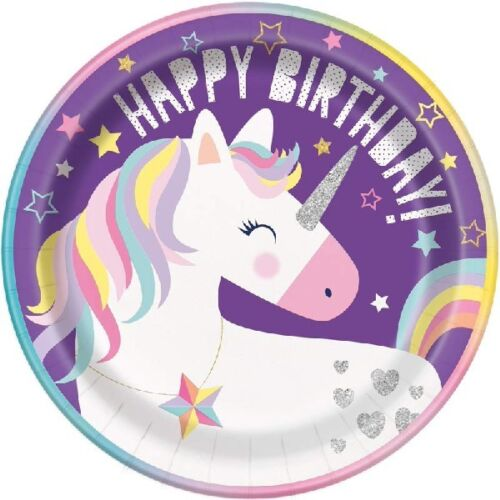 "8 x 9/"" Purple Unicorn Paper Plates Girls Happy Birthday Party Tableware Supplies"