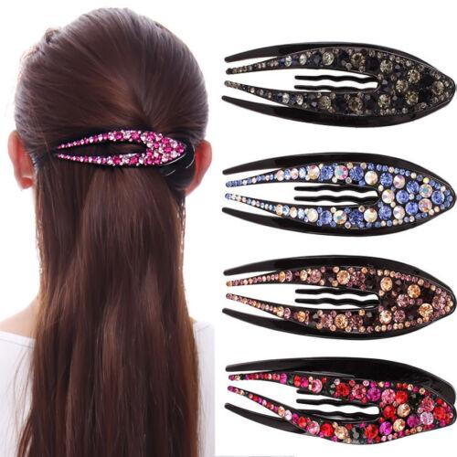 Women/'s Crystal Rhinestone Barrettes Hair Clips Hairpin Slide Pins Accessories