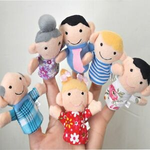 New 6PCS Kids Plush Cloth Play Game Learn Story Family Finger Puppets Toys LO