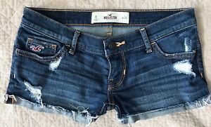Hollister-Cuffed-Low-Rise-Destroyed-Denim-Blue-Jean-shorts-size-0-24
