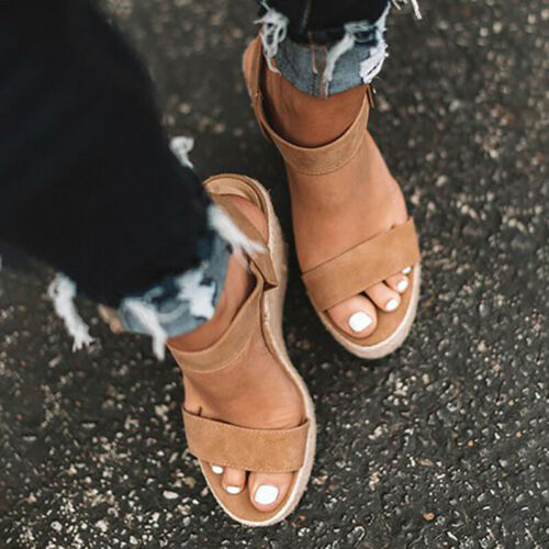Womens Platform Sandals High Wedge Heel Espadrille Summer Ankle Strap Shoes Size