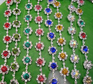 Costume applique flower 8mm glass rhinestone close silver chain claw trim 1 Yard