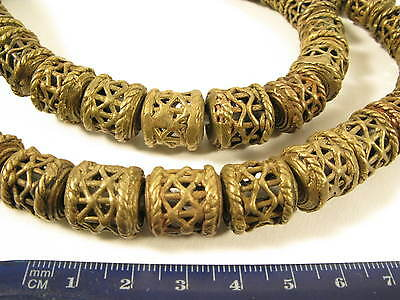 Strang 15mm Messingperlen S1 Gelbguß Ghana Brass Beads Ashanti Akan Afrozip