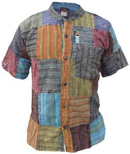 Rayas-Parche-Manga-Corta-Camisa-De-Abuelo-Hippy-blusas-de-verano-algodon-ligero