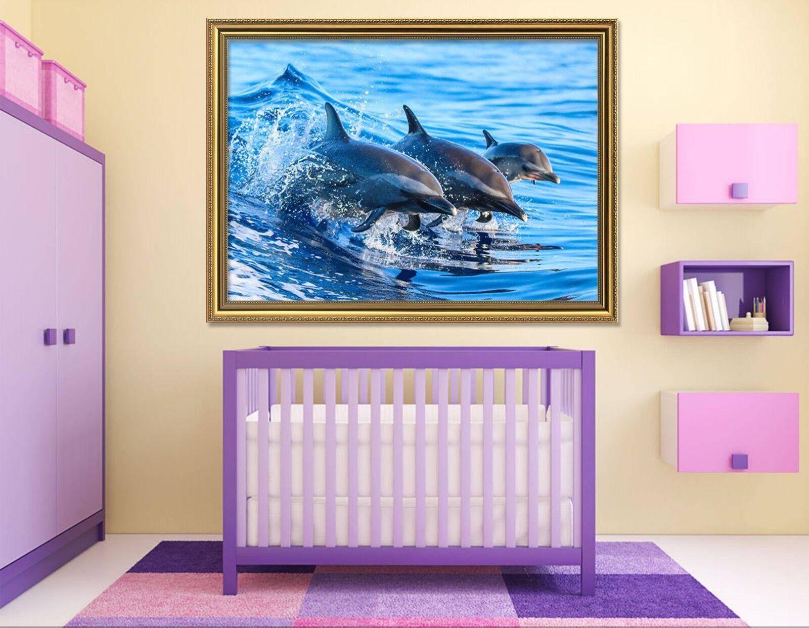 3d acquario tre delfini 3 incorniciato Poster a casa Decorativa Stampa Pittura Arte AJ