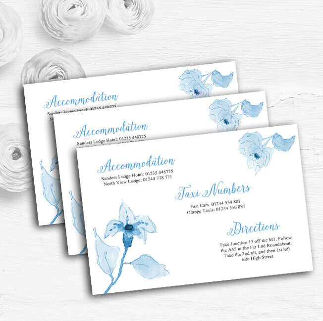 Beautiful Powder Baby Blau Watercolour Flowers Wedding Guest Information Cards Cards Cards bf7236