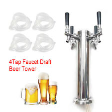 4 Tap Faucet Draft Beer Tower Stainless For Kegerator Home Brew With 12m Tube
