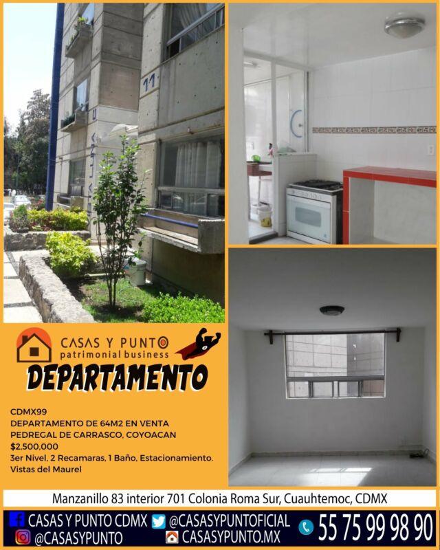 CDMX99 DEPARTAMENTO DE 64M2 EN VENTA PEDREGAL DE CARRASCO