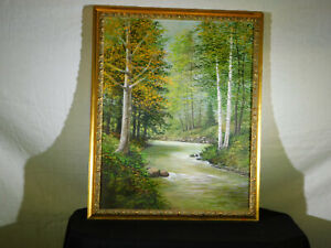 """Hartman Listed Artist Original Oil On Canvas """"Forest Stream Landscape"""" Painting"""