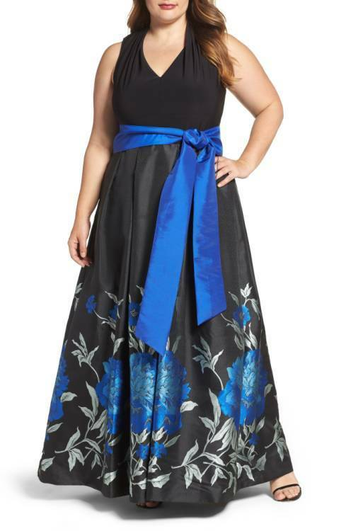 ELIZA J JERSEY & FLORAL BALL- GOWN DRESS sz 16W