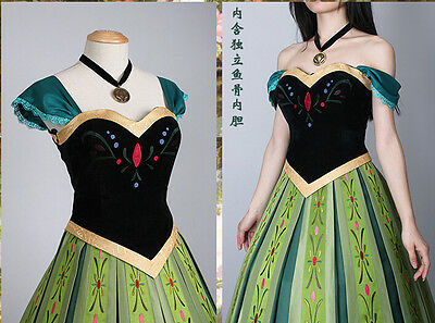 Frozen Snow Anna Adult Fancy Dress Princess Queen Cosplay Costume EXPRESS
