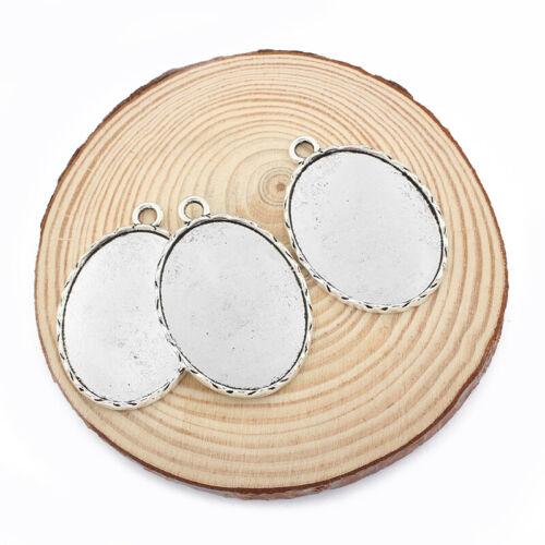 5Pcs Antique Silver 30*40mm Oval Pendant Trays Blank Bezel Cabochon Setting Base