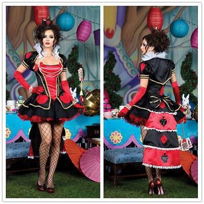Delux Queen of Heart Womens Girl Adult Halloween Costume Cosplay Hen Party Dress