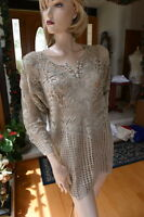 Lim's 100% Cotton Buttons Front Round Neck Tunic Or Mini Dress Taupe S