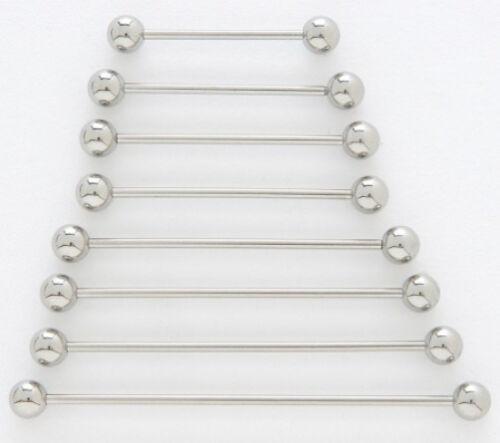 "10 14g Steel 2.5/"" Industrial Barbells 5mm Ball 2-1//2/"" Extra Long Bar Piercings"