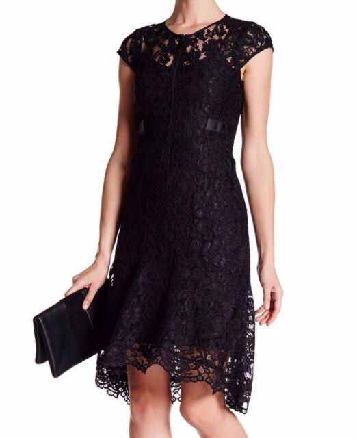 Nanette Nanette Lepore Sz12 Open Lace Cap Sleeve Scalloped Dress