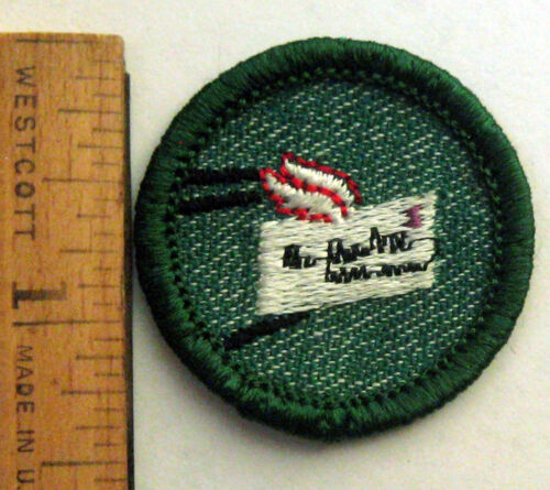 Vintage 1955-1960 Girl Scout PEN PAL BADGE Penpal Writing Winged Letter Patch
