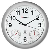 Lorell Analog Temperature/humidity Wall Clock, 12, Silver 61000 on Sale