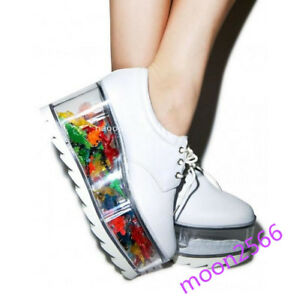 New Womens High Heel Creeper Lace up