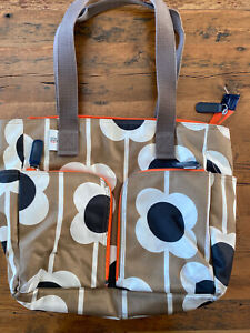 Orla-Kiely-Gold-White-amp-Black-Big-Abacus-Flower-Pattern-Tote-Diaper-Bag-3pc-set
