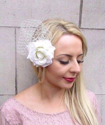 Large Cream Ivory Rose Net Flower Hair Clip Rockabilly 1950s Fascinator Vtg 4055
