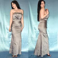 metallic graues SATINKLEID* XXS 32 weiches Cocktailkleid* trägerloses Abendkleid