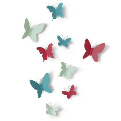 Umbra MARIPOSA Butterfly Wall Decor set of 9 choice of White or Assorted Colors
