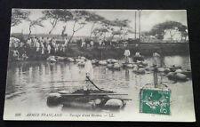 Carte Photo 1914-1918 soldats passage d'une rivière WW1 French postcard soldiers