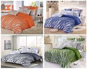 TREES 100% Cotton Bedding Set: Duvet Cover or Sheet Set, Heavy Weight Comforter