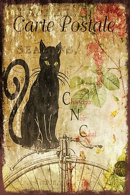 Black Cat Floral Postcard French Style Vintage Retro Style Metal Sign Plaque