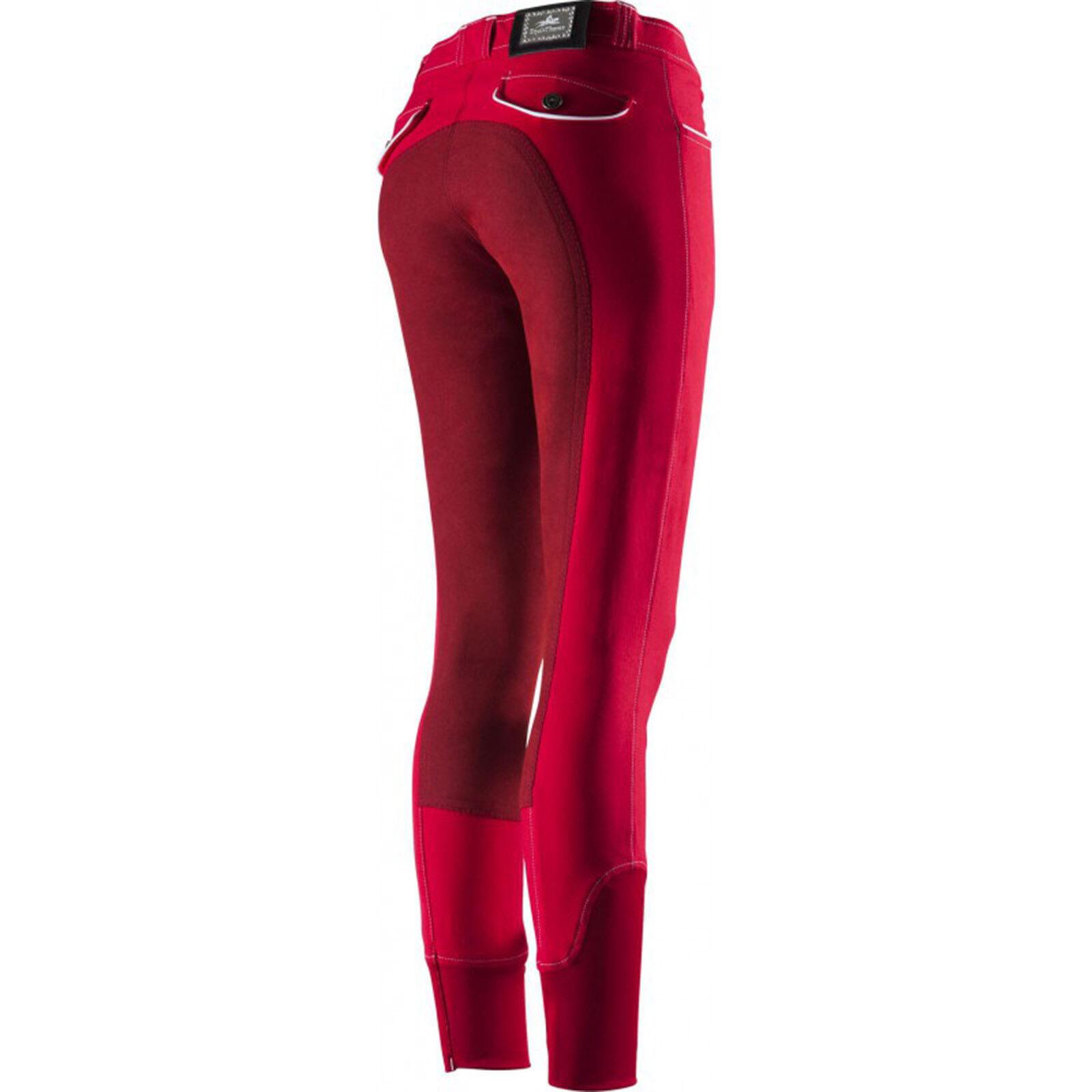 Equi Theme Donna Pantaloni Montala Verona guarnizione in pieno rosso