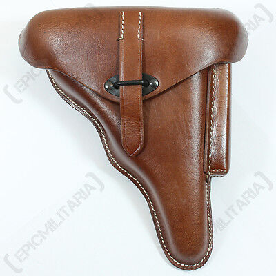German Army WALTHER P38 P-38 Pistol HOLSTER - Hard Shell Brown Leather WW2 Repro