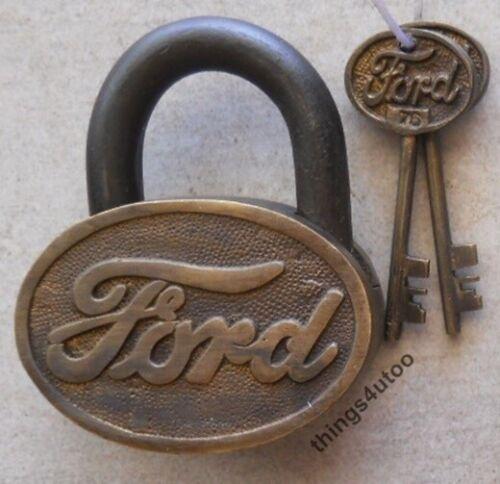 Ford Oval Large Shape Brass body lock padlock with 2 keys #E137