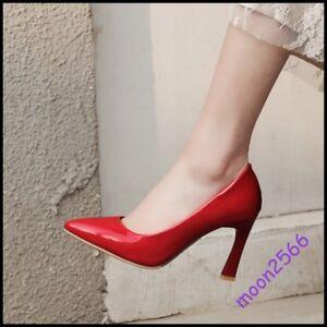 Nouveau-Haut-Cuir-Verni-Robe-Escarpins-bout-pointu-et-talon-haut-Bureau-Lady-Chaussures-Taille