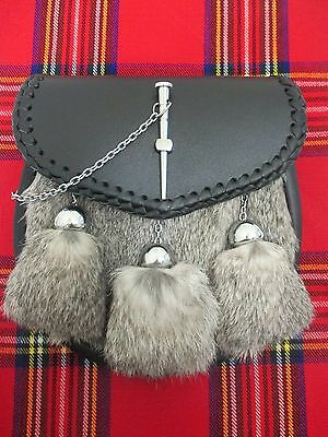 Gray Rabbit & Leather with Pin Closure Sporran for Kilts Includes Chain Belt