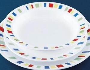 Image is loading Corelle-MEMPHIS-15-oz-Flat-RIMMED-SOUP-BOWL- & Corelle MEMPHIS 15-oz Flat RIMMED SOUP BOWL *Red Blue Green Yellow ...