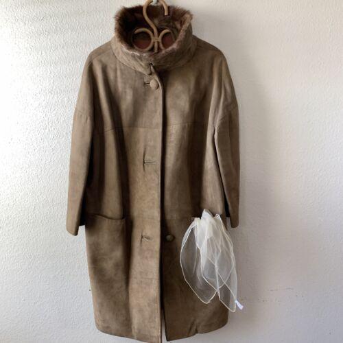 Vintage 1940s 50s Suede Leather Car Coat Fur Trim