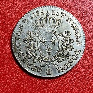 1567-RARE-Louis-XVI-1-5-ecu-1788-H-La-Rochelle-Superbe-FACTURE