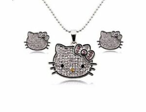 Cute-Hello-Kitty-Jewelry-Set-039-s-Pendant-Earrings-Necklace-Sets-For-Women-Girl-New