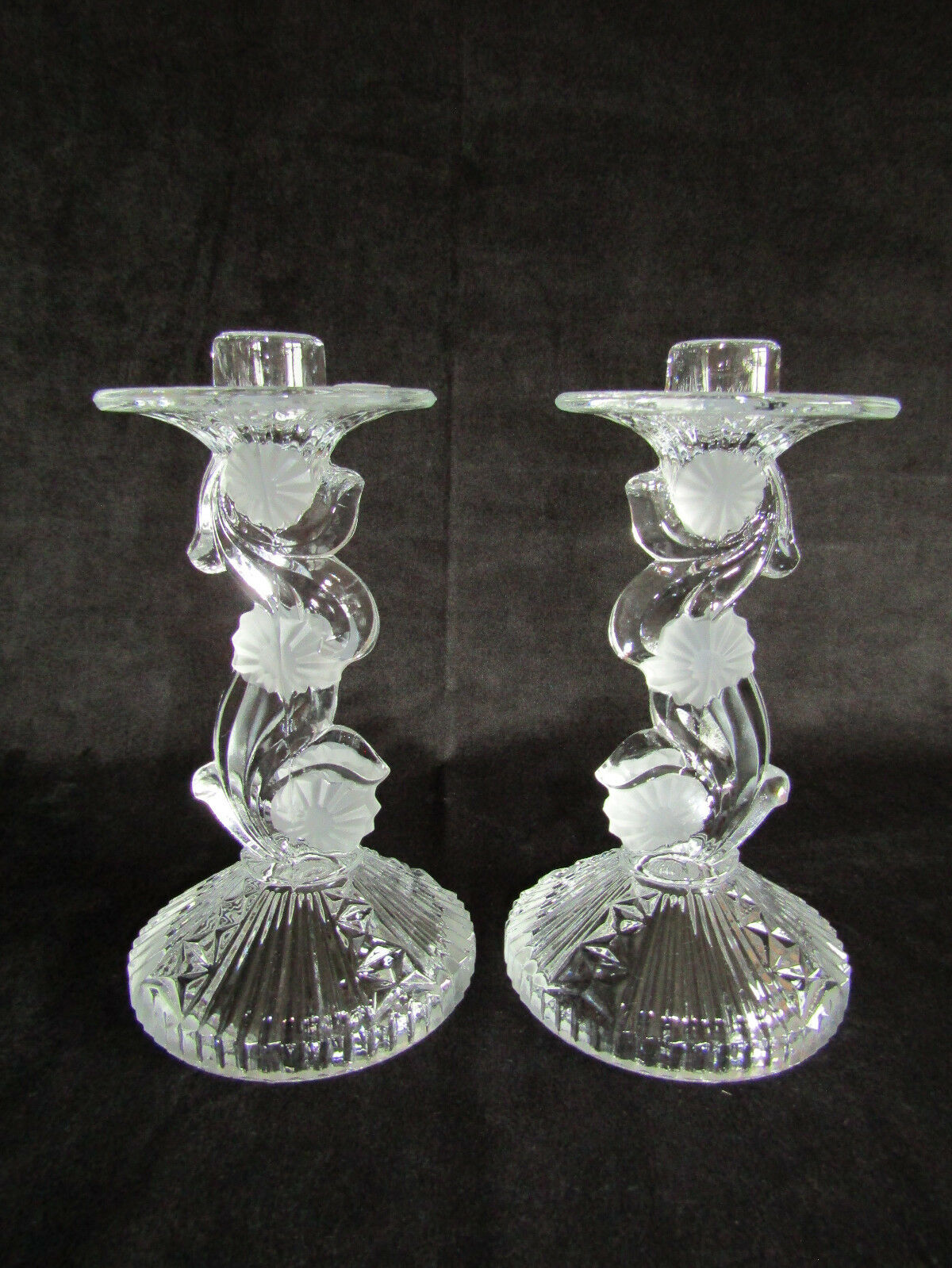 2er Set Prunkhafte Bohemia Kerzenständer Kerzenhalter KerzenleuchterKristallglas