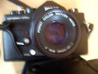 **Porst Compact-Reflex Kamera mit Objektiv Color Reflex Auto 1:1.8/50mm u.Tasche