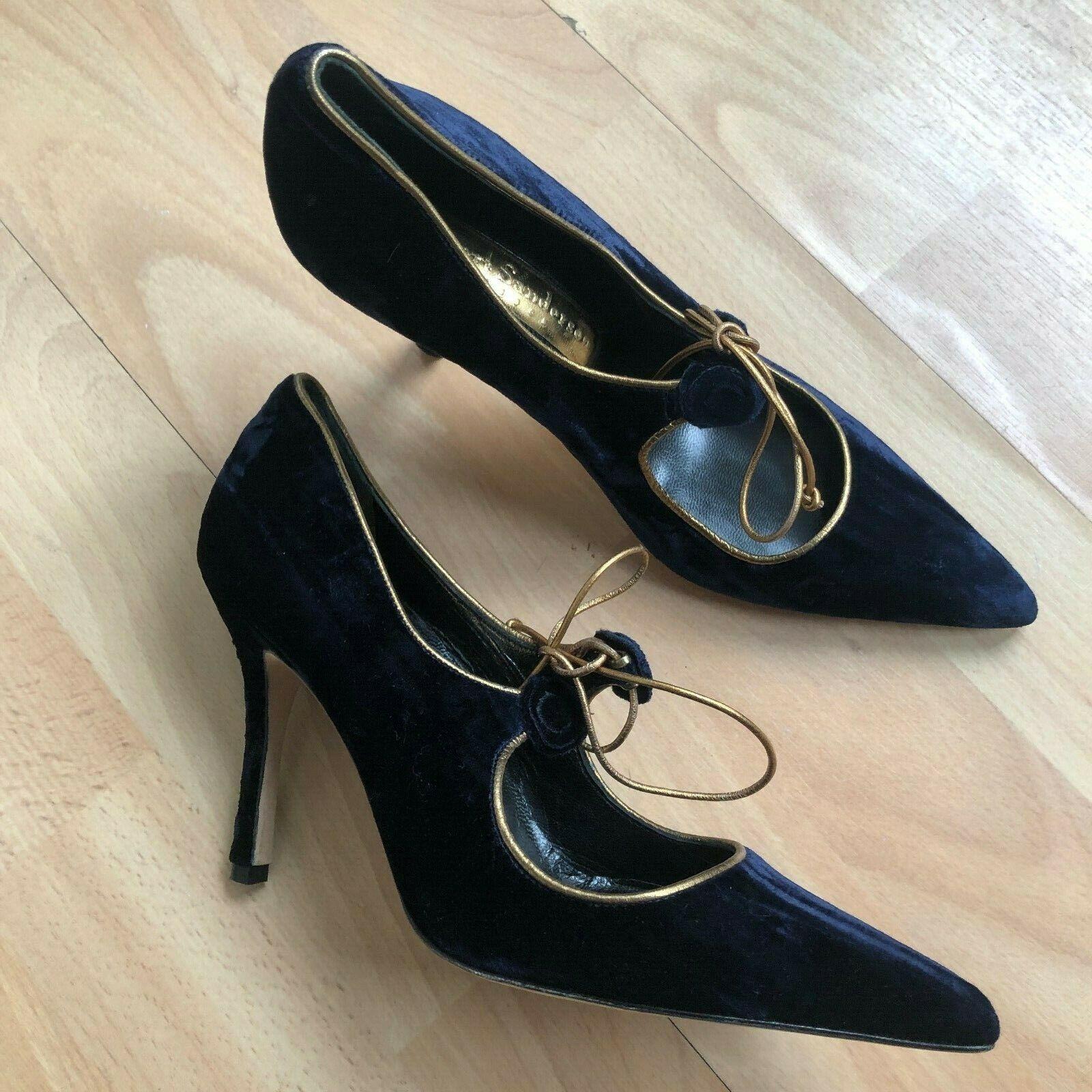 Rupert Sanderson sammet sammet sammet Mary Jane Pump skor klackar  online mode shopping